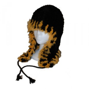Black and Orange Beaver and Rabbit Helmet Hat