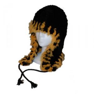 Black and Orange Beaver and Rabbit Helmet Hat