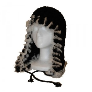 Black and White Beaver Fur Helmet Hat