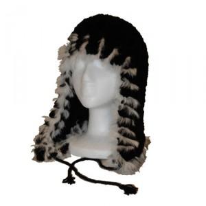 Black and White Beaver Fur Helmet Hat