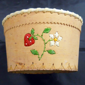 Round open birch basket with red strawberry design