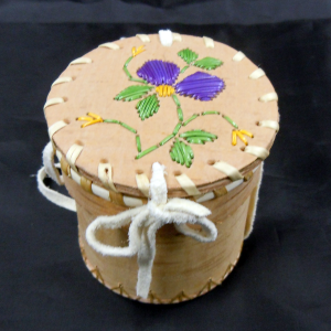 Purple Flower Porcupine Quill Small Birch Basket