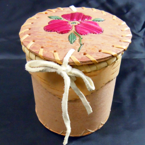 Large Round Birch Basket with Dark Pink Quill Flower