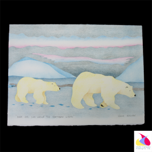 """Bear and Cub under the Northern Lights"" Inuit Print"