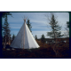 Daytime photo of traditional canvas tipi