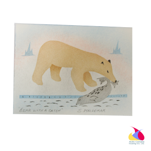"""Bear with a Catch"" Inuit Print Card"