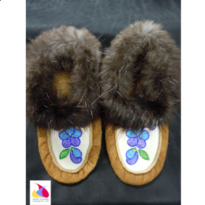 Blue Flower Beaded Moccasins