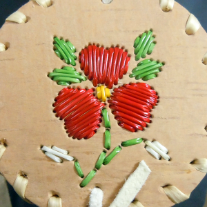 Birch bark basket with Red Flower Quilled Design (small)