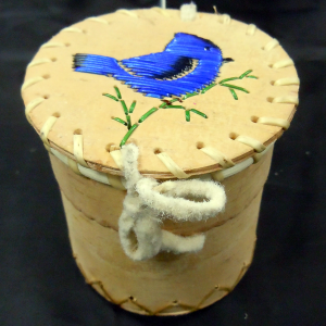 Small Birchbark Basket with Porcupine Quilled Bird Design
