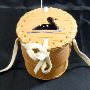 Birchbark basket with black loon porcupine quill design