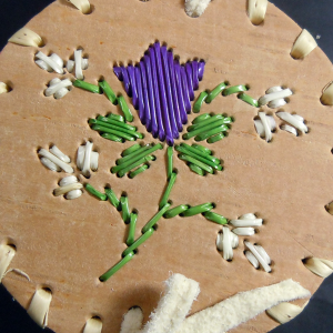 Purple rose small quilled birch bark basket
