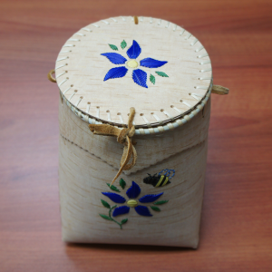Birch Berry Basket with lid, blue porcupine quill flower and bee