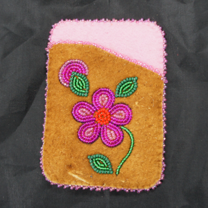 Moose Hide Debit Card Holder – Pink Beaded Flower Design