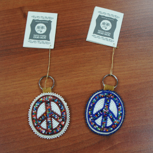 Moose Hide Key Chain with Beaded Peace Sign