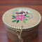 Large in detail round birch bark basket with porcupine quill design