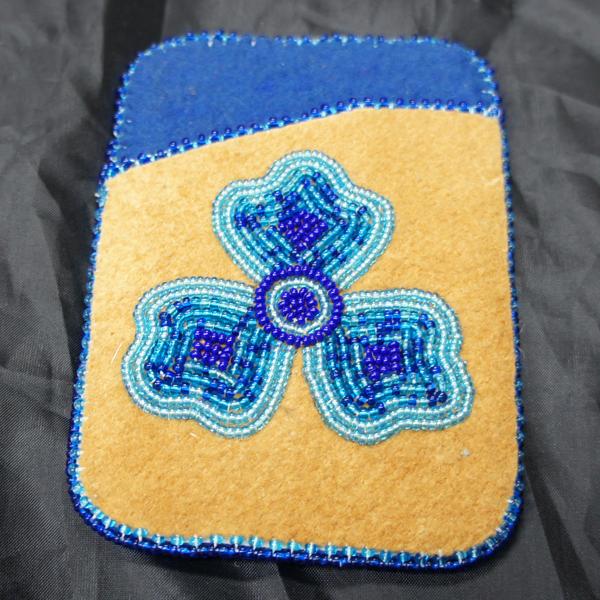 Moose Hide Card Holder Blue Flower Beaded Design