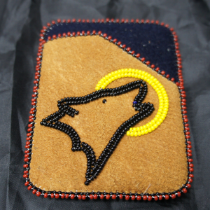 Moose Hide Card Holder – Howling Wolf and Moon Beaded Design