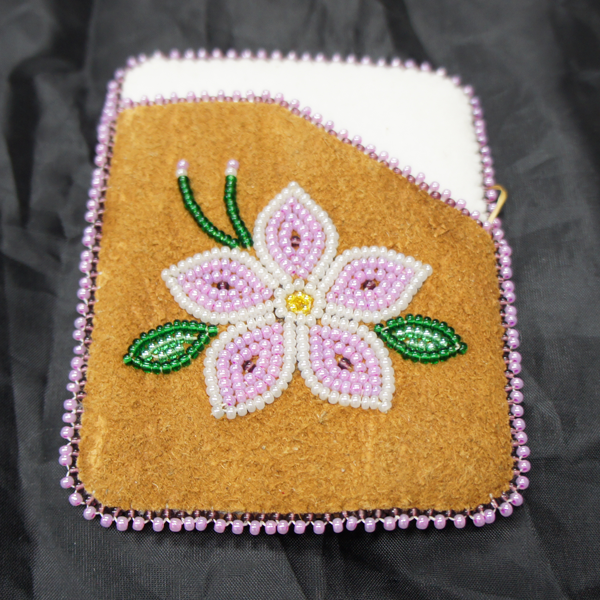 Moose Hide Card Holder Pink And White Flower Beaded