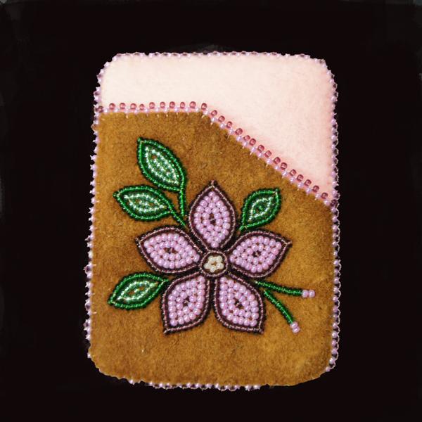 Moose Hide Card Holder Pink Flower Beaded Design