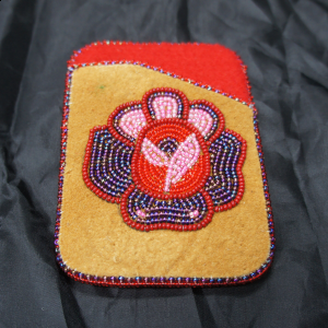 Moose Hide Card Holder – Red Purple Pink Flower Beaded Design
