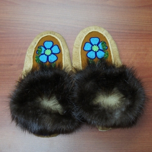 Large Moosehide Moccasins with Blue Flower Beaded Design