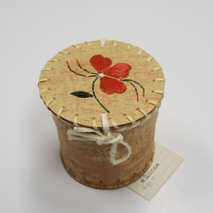 Souvenir Birchbark Basket with Porcupine Quill Orange Flower Design