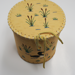 Medium Sized round Birch Basket with Porcupine Quill Loon and Marsh Design