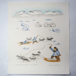 """Learning To Ride a Dog Team"" Inuit Print"