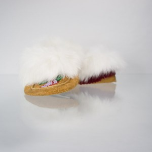 Handmade Moccasins Child Size 6 Rabbit Fur Red Petal Pattern
