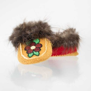 Handmade Moccasins Child Size 8 Red and Black Floral
