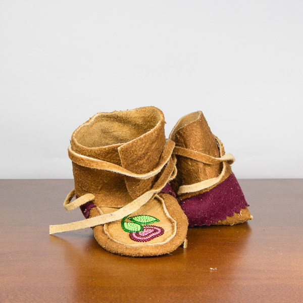 Handmade Wrap Around Moccasins Child Size 4 Cherry Floral Pattern