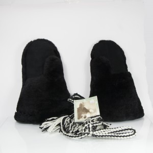 Premium Black Sheared Beaver Gauntlet Mittens