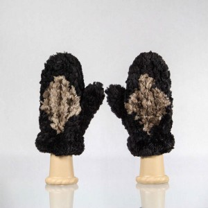 Sheared Knit Beaver Fur Mittens &#8211; Black with Brown Diamond