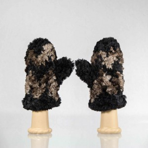 Sheared Knit Beaver Fur Mittens &#8211; Black with Brown Chevron