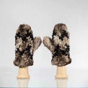 Sheared Knit Beaver Fur Mittens &#8211; Brown with Black Chevron