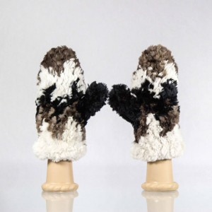 Sheared Knit Beaver Fur Mittens &#8211; Multi-Chevron