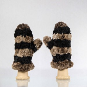 Sheared Knit Beaver Mittens &#8211; Black and Brown Striped