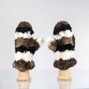 Sheared Knit Beaver Mittens &#8211; Wide Stripes