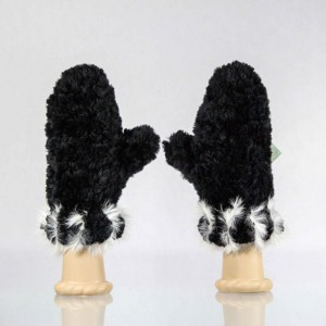 Sheared Knit Beaver Fur Mittens &#8211; White Rabbit Blanket Stitch