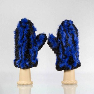 Sheared Knit Beaver Fur Mittens &#8211; Blue Rabbit Accent