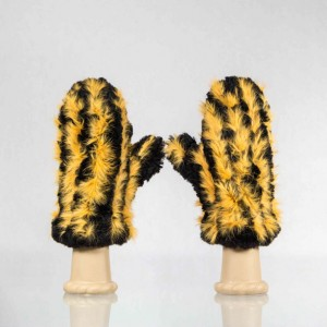 Sheared Knit Beaver Fur Mittens &#8211; Orange Rabbit Accent