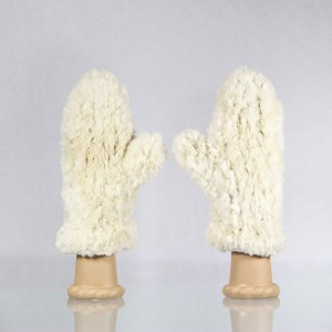 Classic Sheared Beaver Fur Mittens &#8211; White