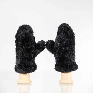 Classic Sheared Beaver Fur Mittens – Black