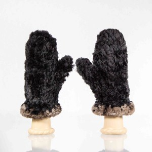 Sheared Knit Beaver Fur Mittens &#8211; Black with Natural Contrast Edge