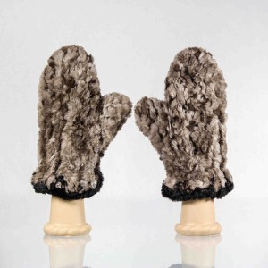 Sheared Knit Beaver Fur Mittens &#8211; Natural with Black Contrast Edge