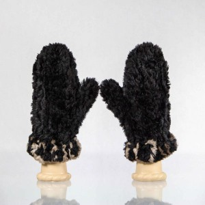 Sheared Knit Beaver Mittens – Black with Brown Blanket Stitch