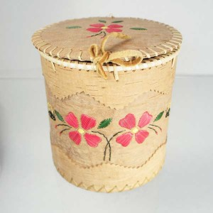 Large Round Birch Bark Basket – Bumble Bees and Flowers