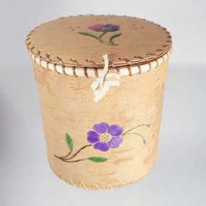 Large Round Birch Bark Basket – Purple and Pink Quillwork