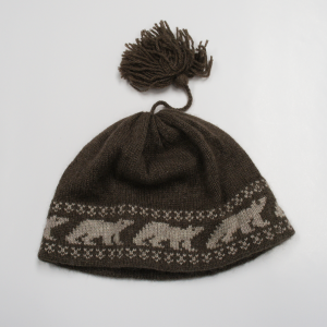 Brown Muskox Qiviut Hat with White Polar Bear Design
