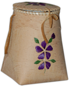 Purple Floral Birch Bark Berry Basket